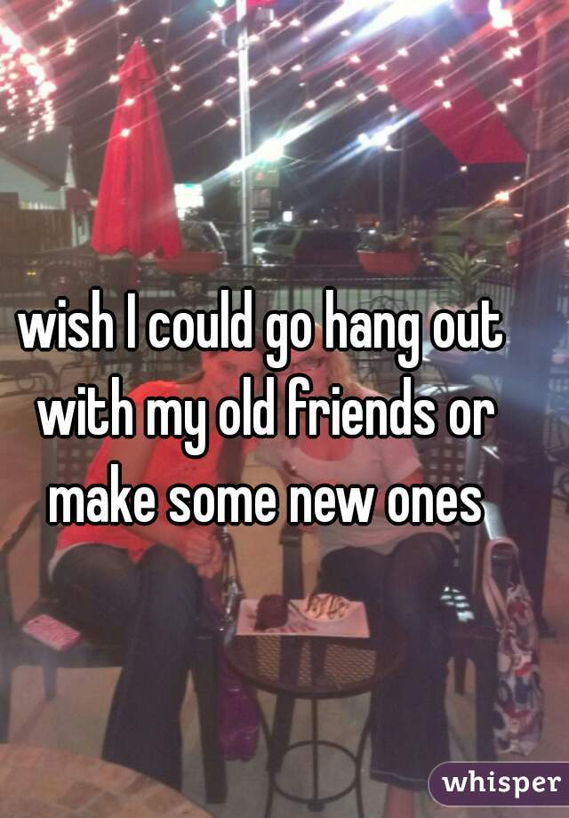 wish I could go hang out with my old friends or make some new ones
