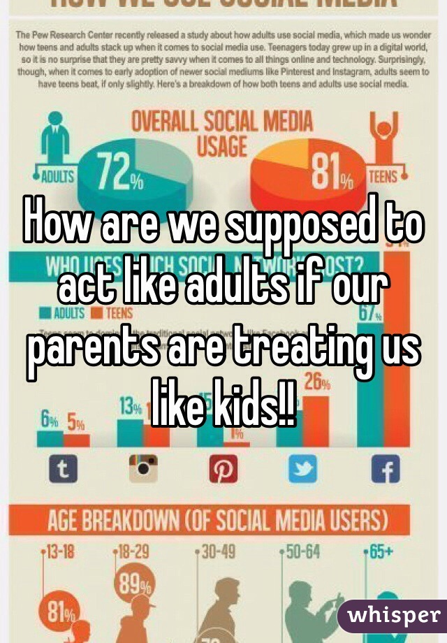 How are we supposed to act like adults if our parents are treating us like kids!!