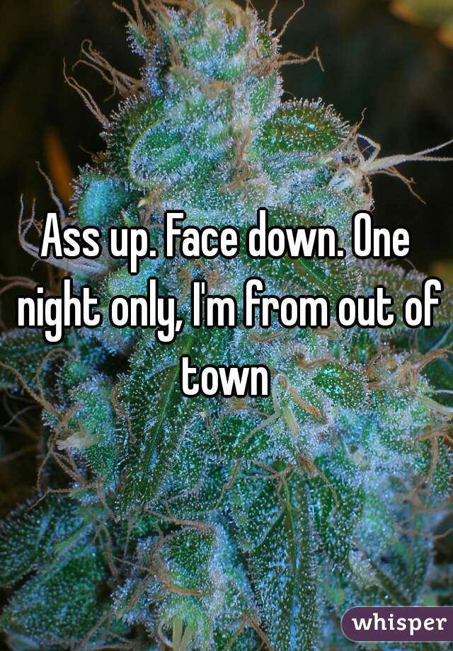 Ass up. Face down. One night only, I'm from out of town