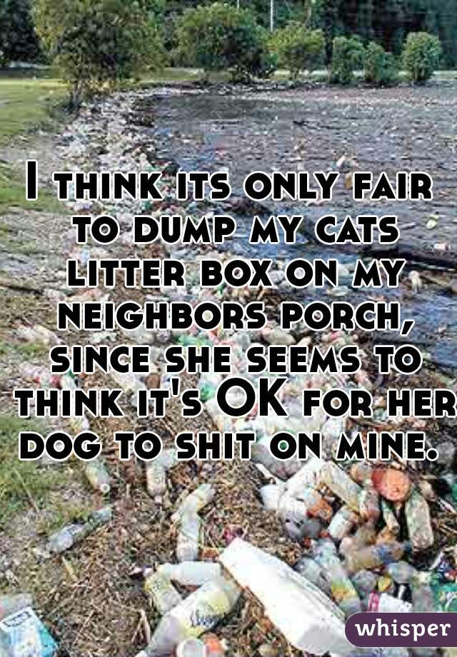 I think its only fair to dump my cats litter box on my neighbors porch, since she seems to think it's OK for her dog to shit on mine.