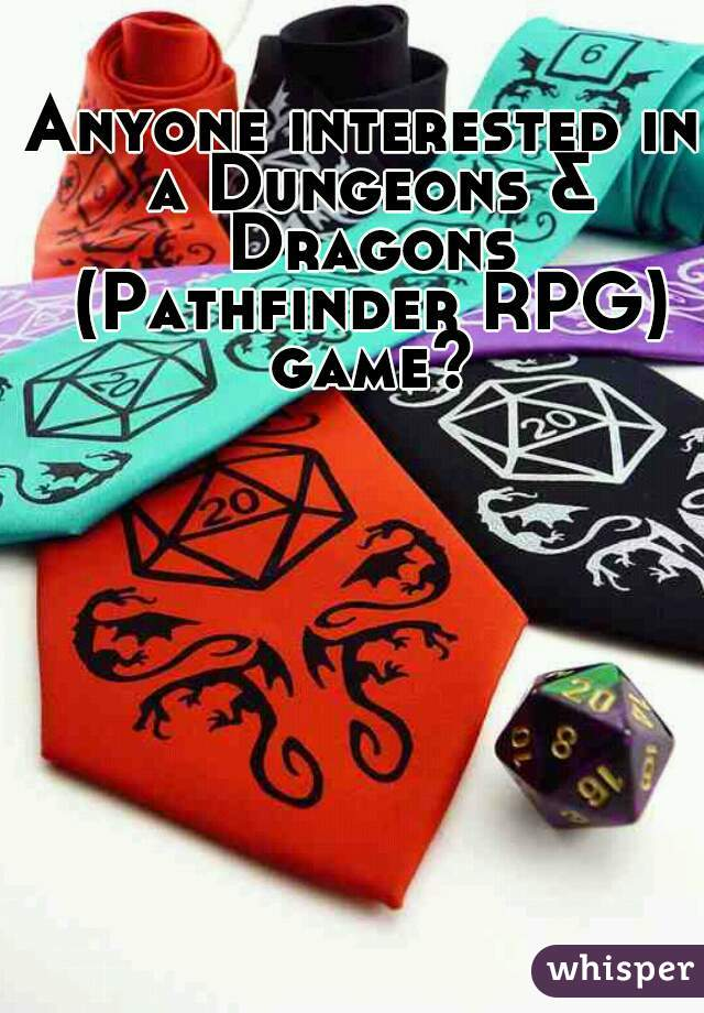 Anyone interested in a Dungeons & Dragons (Pathfinder RPG) game?