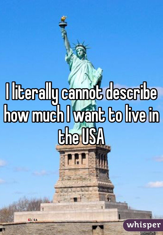 I literally cannot describe how much I want to live in the USA