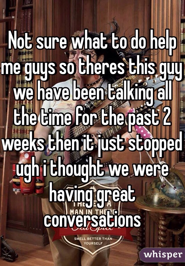 Not sure what to do help me guys so theres this guy we have been talking all the time for the past 2 weeks then it just stopped ugh i thought we were having great conversations