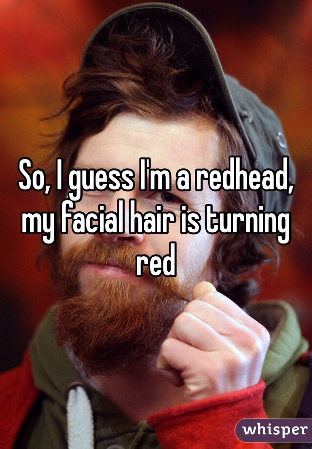 So, I guess I'm a redhead, my facial hair is turning red