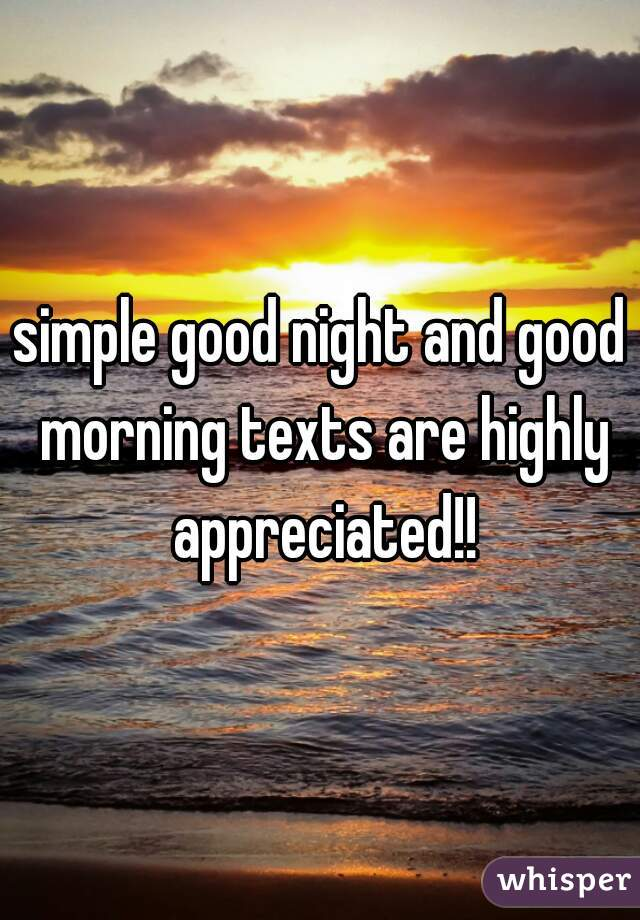 simple good night and good morning texts are highly appreciated!!