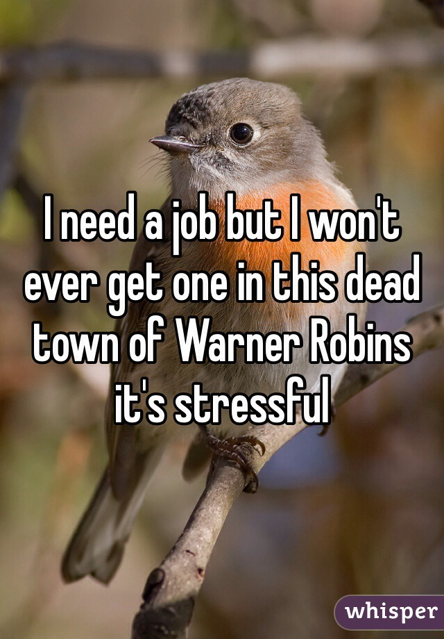 I need a job but I won't ever get one in this dead town of Warner Robins it's stressful