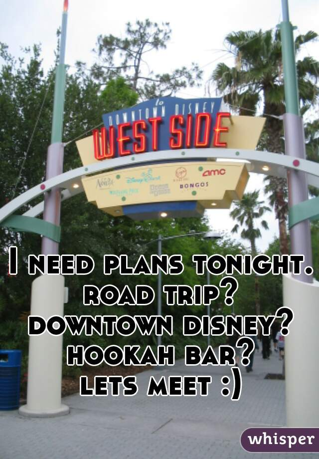 I need plans tonight. road trip? downtown disney? hookah bar? lets meet :)