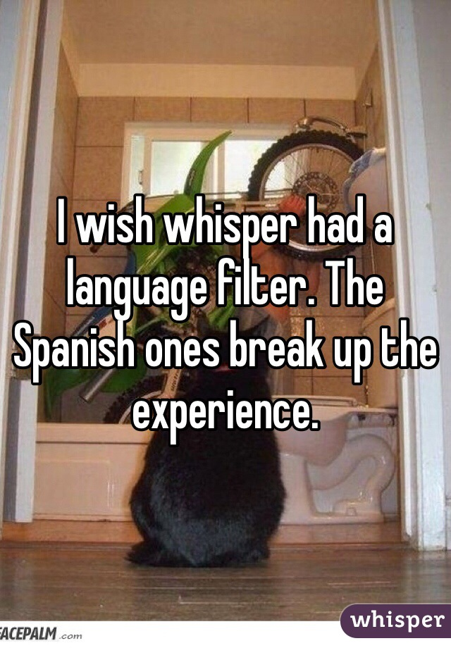 I wish whisper had a language filter. The Spanish ones break up the experience.