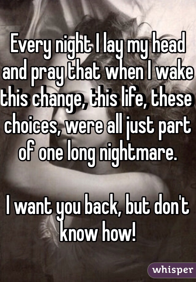 Every night I lay my head and pray that when I wake this change, this life, these choices, were all just part of one long nightmare.   I want you back, but don't know how!