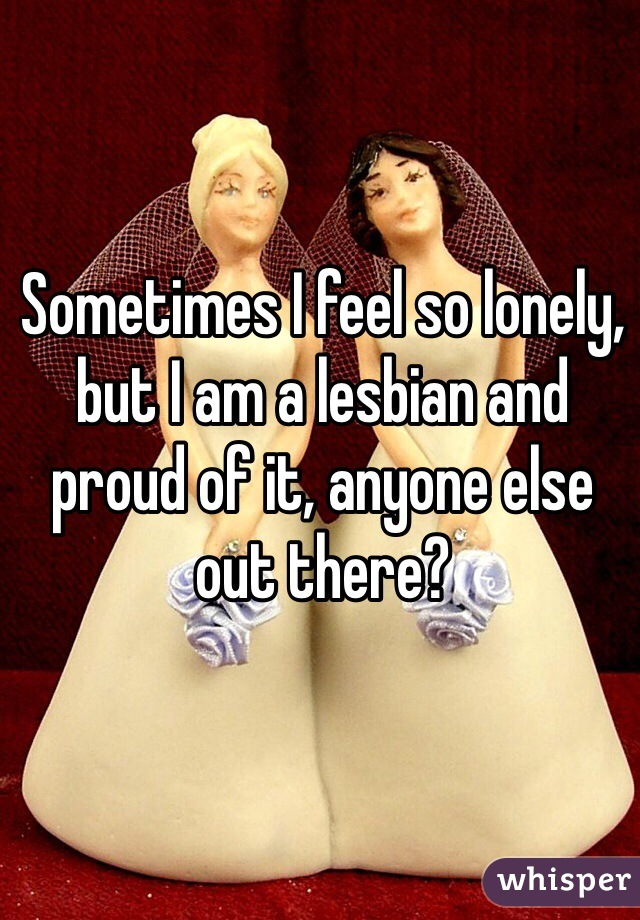 Sometimes I feel so lonely, but I am a lesbian and proud of it, anyone else out there?