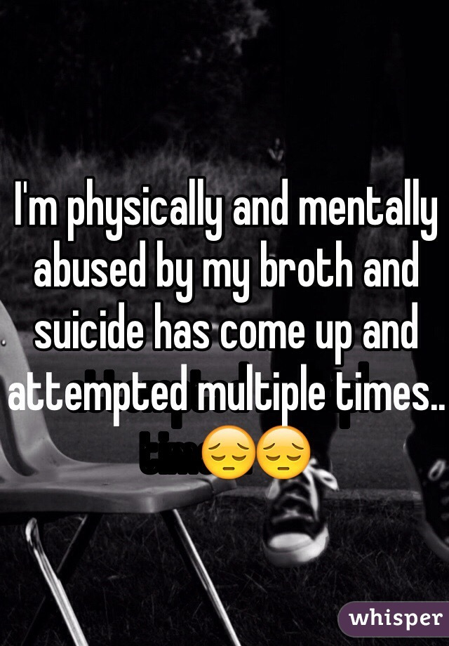 I'm physically and mentally abused by my broth and suicide has come up and attempted multiple times..😔