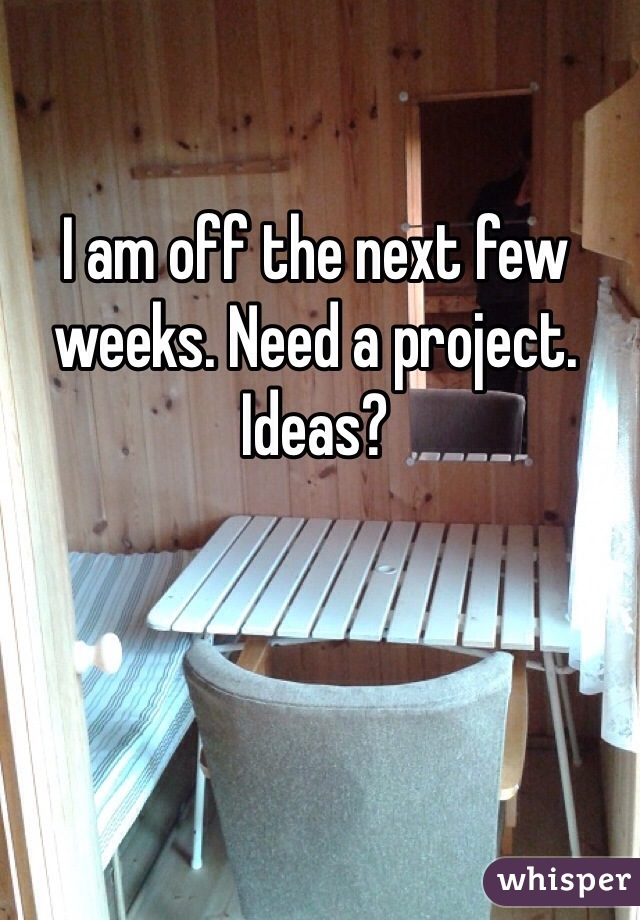 I am off the next few weeks. Need a project. Ideas?