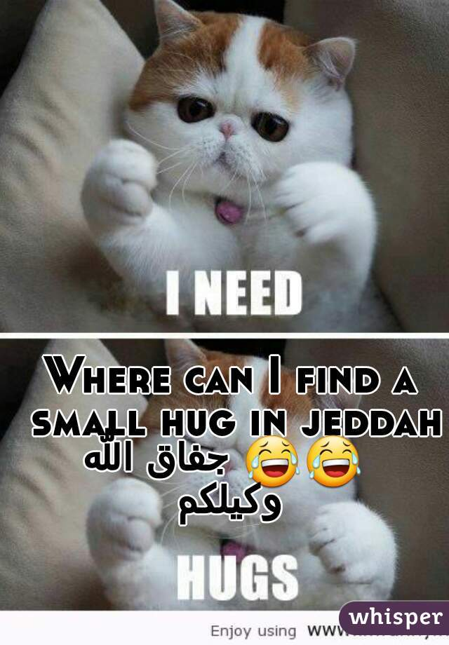 Where can I find a small hug in jeddah 😂😂 جفاق الله وكيلكم