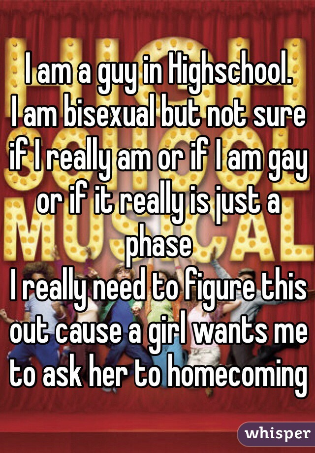 I am a guy in Highschool.  I am bisexual but not sure if I really am or if I am gay or if it really is just a phase I really need to figure this out cause a girl wants me to ask her to homecoming