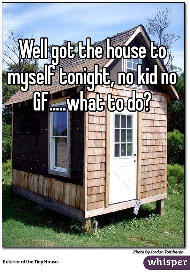Well got the house to myself tonight, no kid no GF.....what to do?