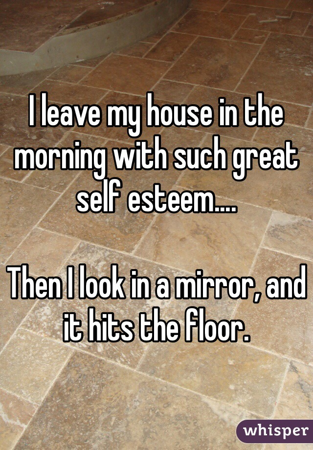 I leave my house in the morning with such great self esteem....  Then I look in a mirror, and it hits the floor.