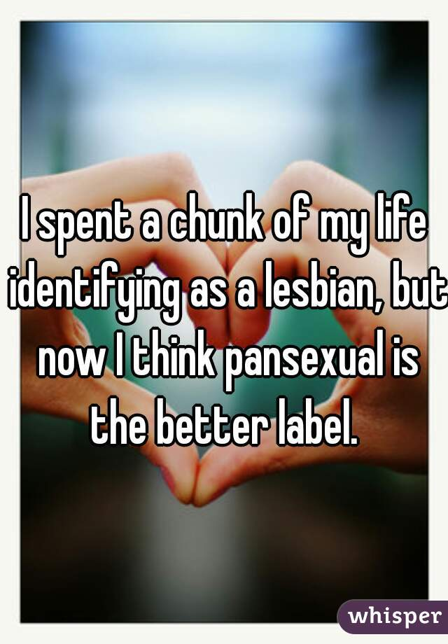 I spent a chunk of my life identifying as a lesbian, but now I think pansexual is the better label.