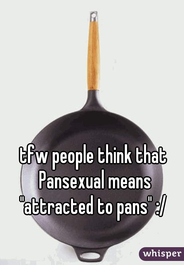 "tfw people think that Pansexual means ""attracted to pans"" :/"