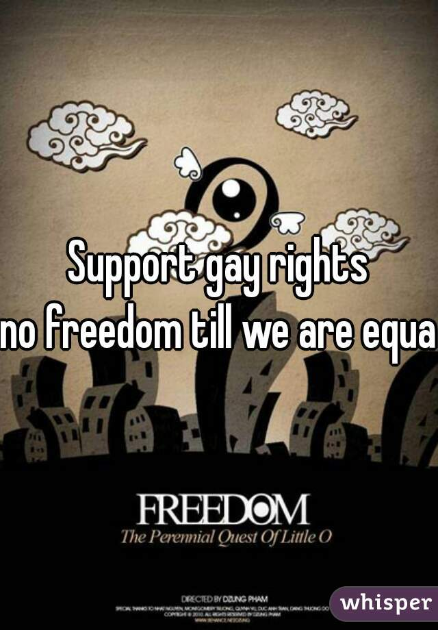 Support gay rights no freedom till we are equal