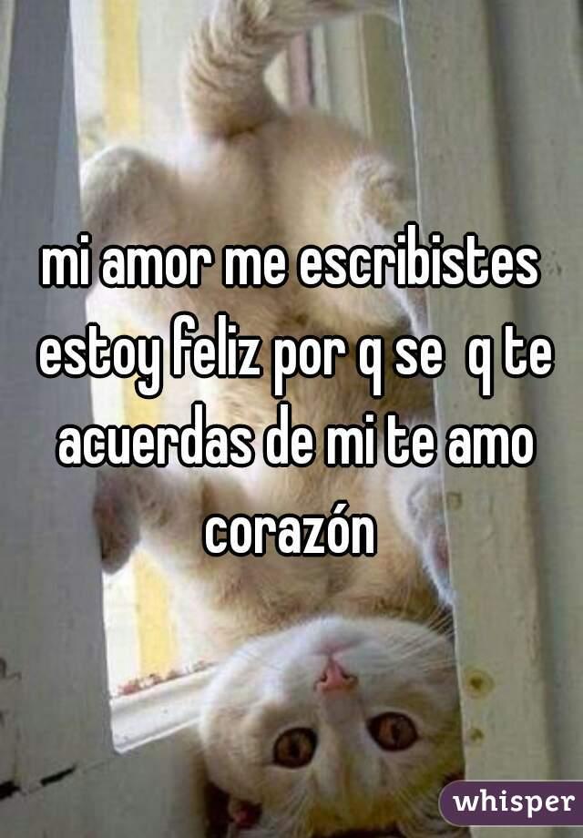 mi amor me escribistes estoy feliz por q se  q te acuerdas de mi te amo corazón
