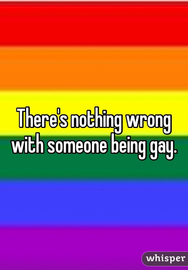 There's nothing wrong with someone being gay.