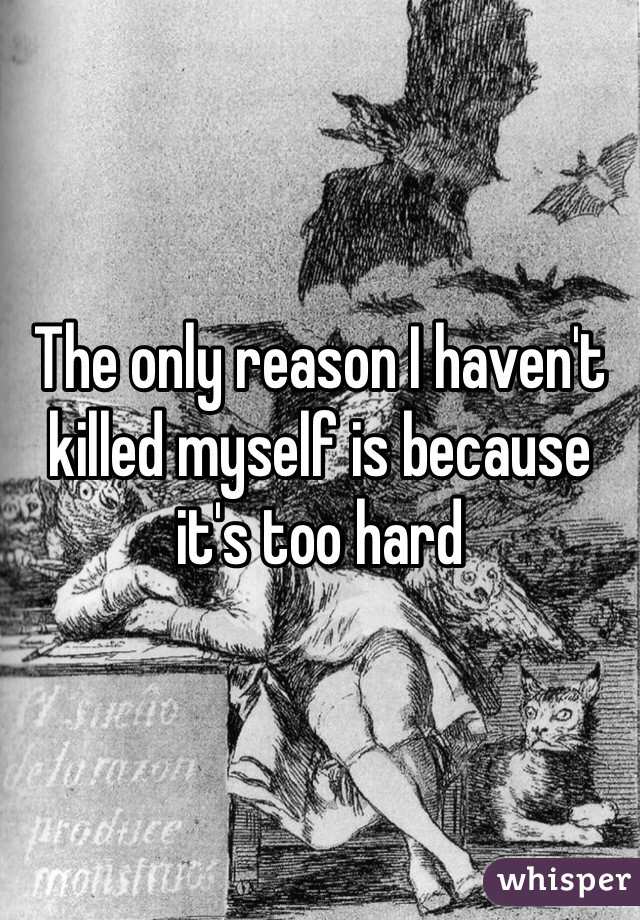 The only reason I haven't killed myself is because it's too hard