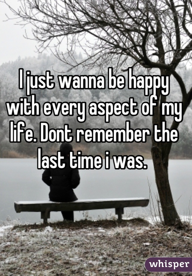I just wanna be happy with every aspect of my life. Dont remember the last time i was.