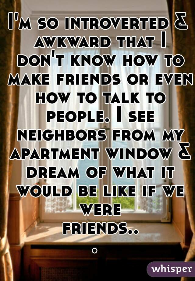 I'm so introverted & awkward that I don't know how to make friends or even how to talk to people. I see neighbors from my apartment window & dream of what it would be like if we were friends...