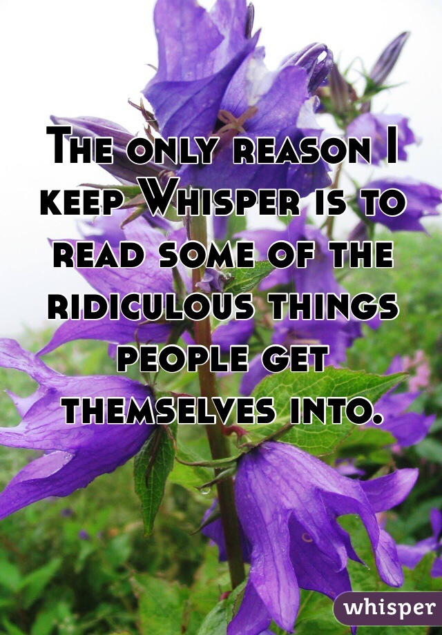 The only reason I keep Whisper is to read some of the ridiculous things people get themselves into.