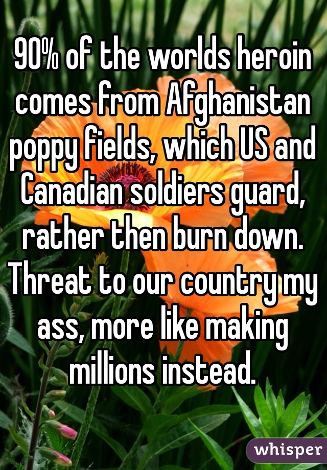 90% of the worlds heroin comes from Afghanistan poppy fields, which US and Canadian soldiers guard, rather then burn down. Threat to our country my ass, more like making millions instead.