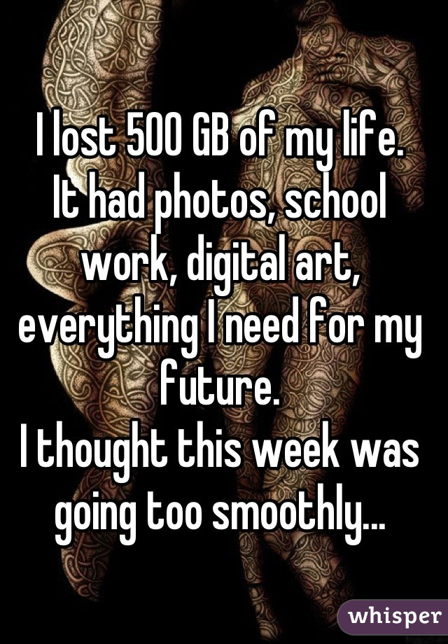 I lost 500 GB of my life.  It had photos, school work, digital art, everything I need for my future.  I thought this week was going too smoothly...
