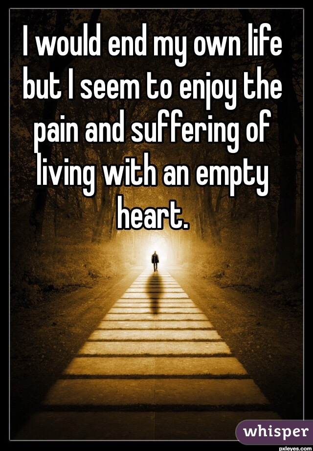 I would end my own life but I seem to enjoy the pain and suffering of living with an empty heart.