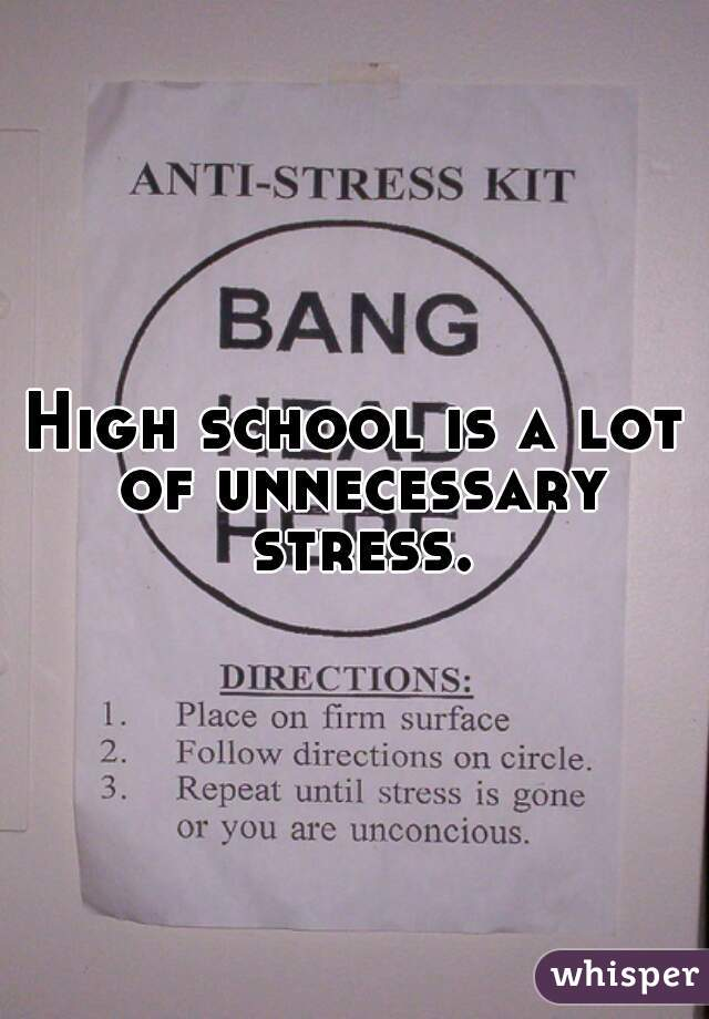 High school is a lot of unnecessary stress.