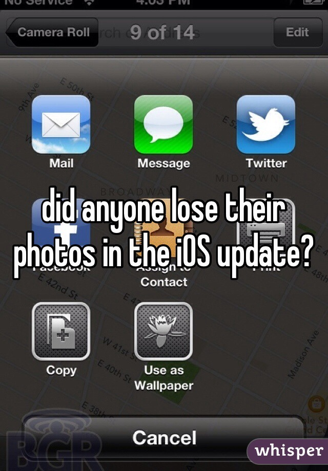 did anyone lose their photos in the iOS update?