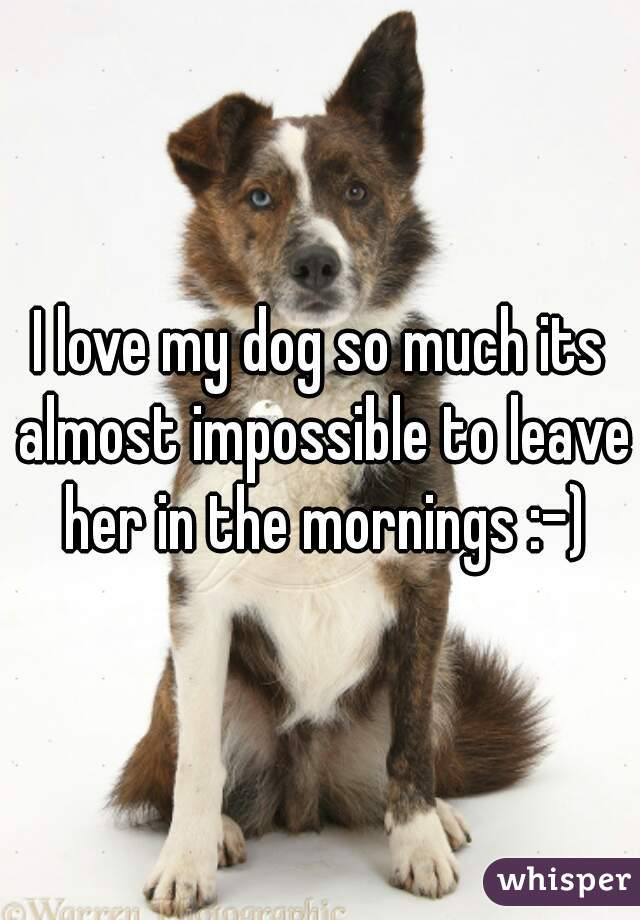 I love my dog so much its almost impossible to leave her in the mornings :-)