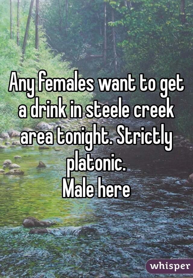 Any females want to get a drink in steele creek area tonight. Strictly platonic. Male here