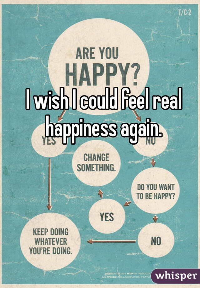 I wish I could feel real happiness again.