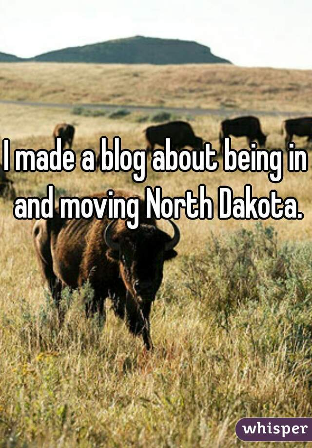 I made a blog about being in and moving North Dakota.