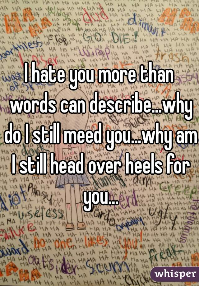 I hate you more than words can describe...why do I still meed you...why am I still head over heels for you...