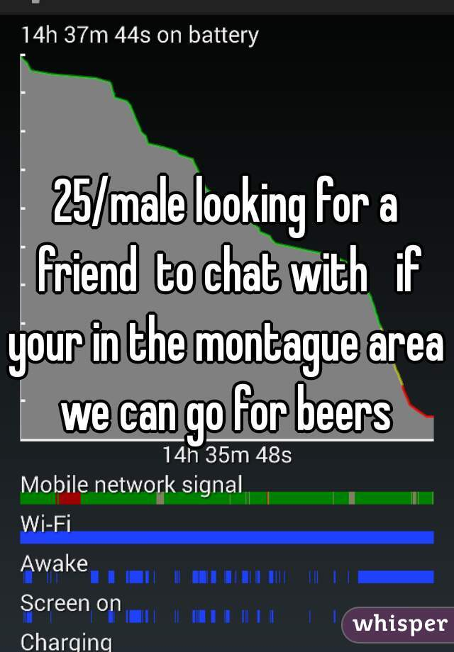 25/male looking for a friend  to chat with   if your in the montague area  we can go for beers