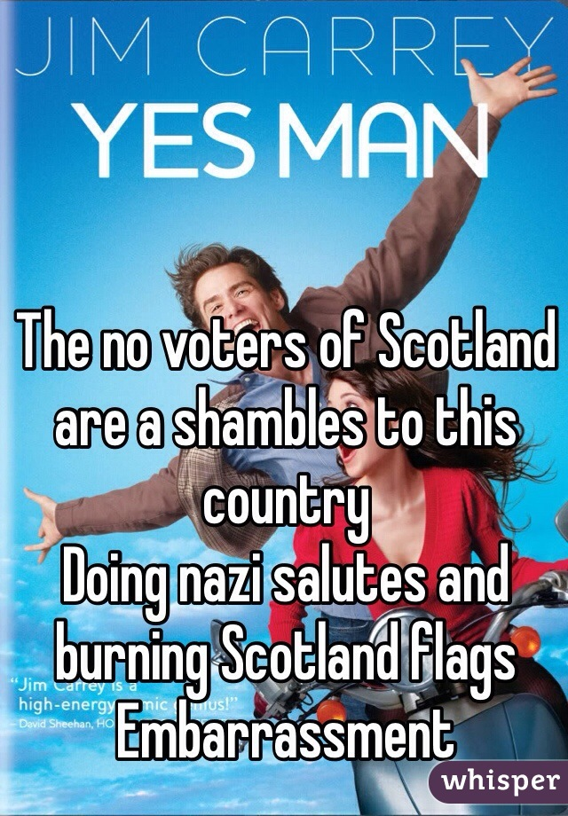 The no voters of Scotland are a shambles to this country  Doing nazi salutes and burning Scotland flags  Embarrassment