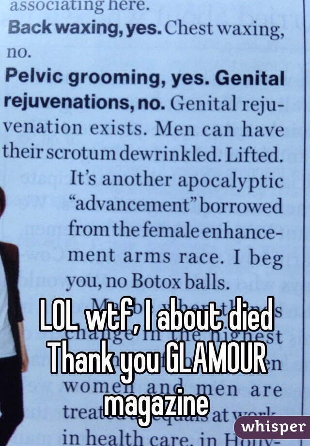 LOL wtf, I about died Thank you GLAMOUR magazine