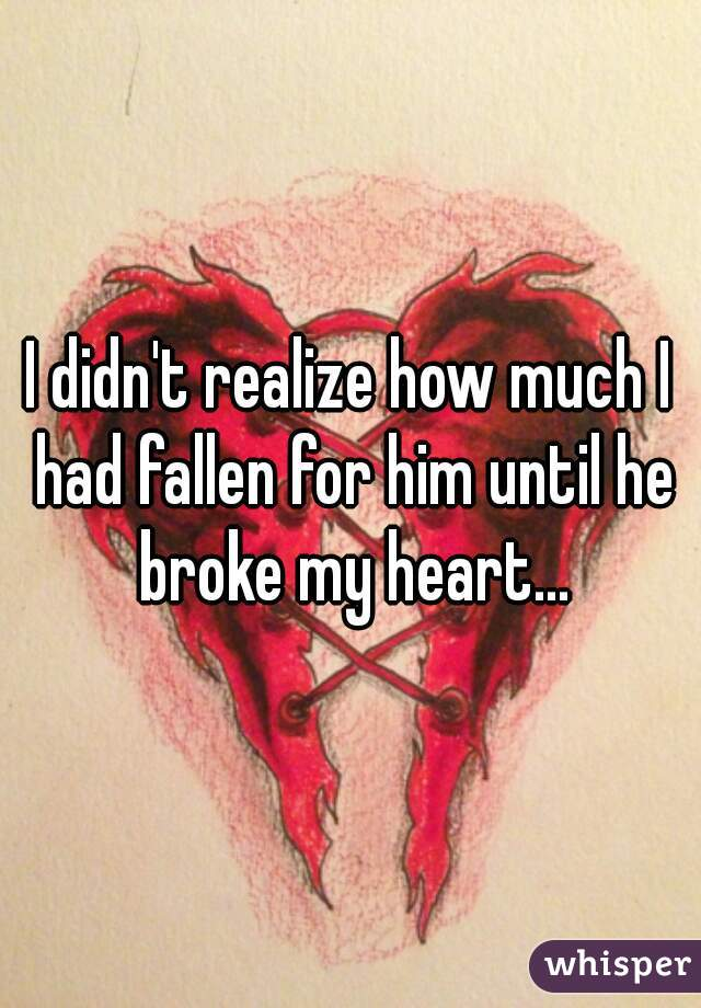 I didn't realize how much I had fallen for him until he broke my heart...