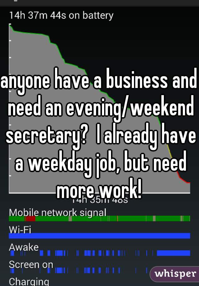 anyone have a business and need an evening/weekend secretary?  I already have a weekday job, but need more work!