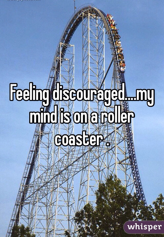 Feeling discouraged....my mind is on a roller coaster .
