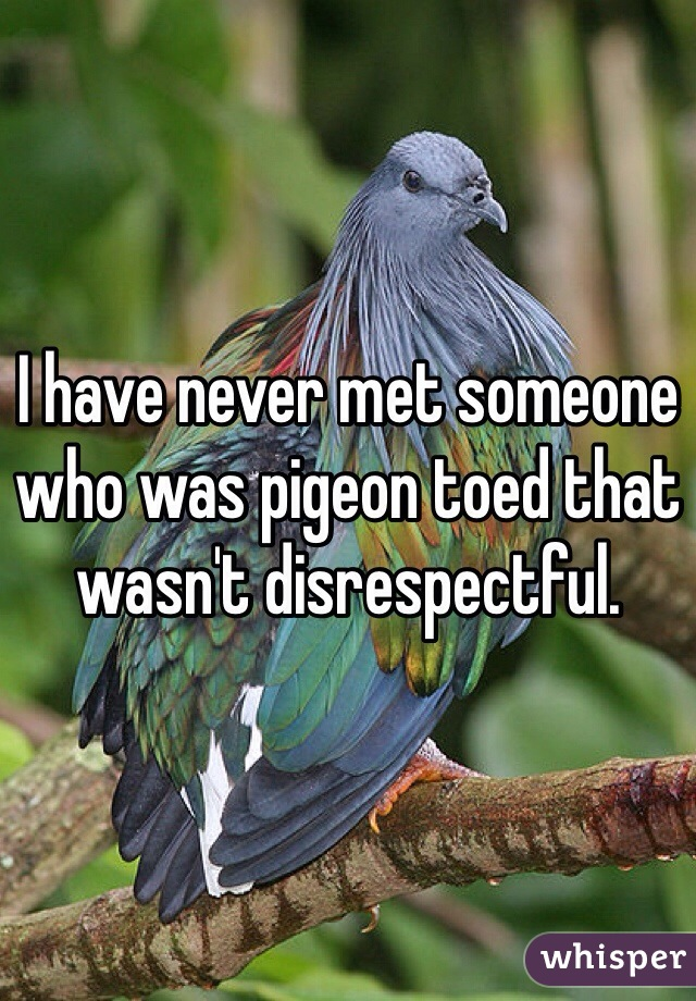 I have never met someone who was pigeon toed that wasn't disrespectful.