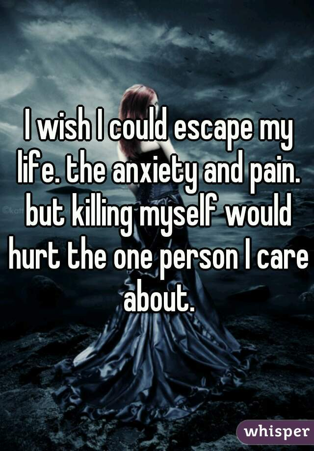 I wish I could escape my life. the anxiety and pain. but killing myself would hurt the one person I care about.