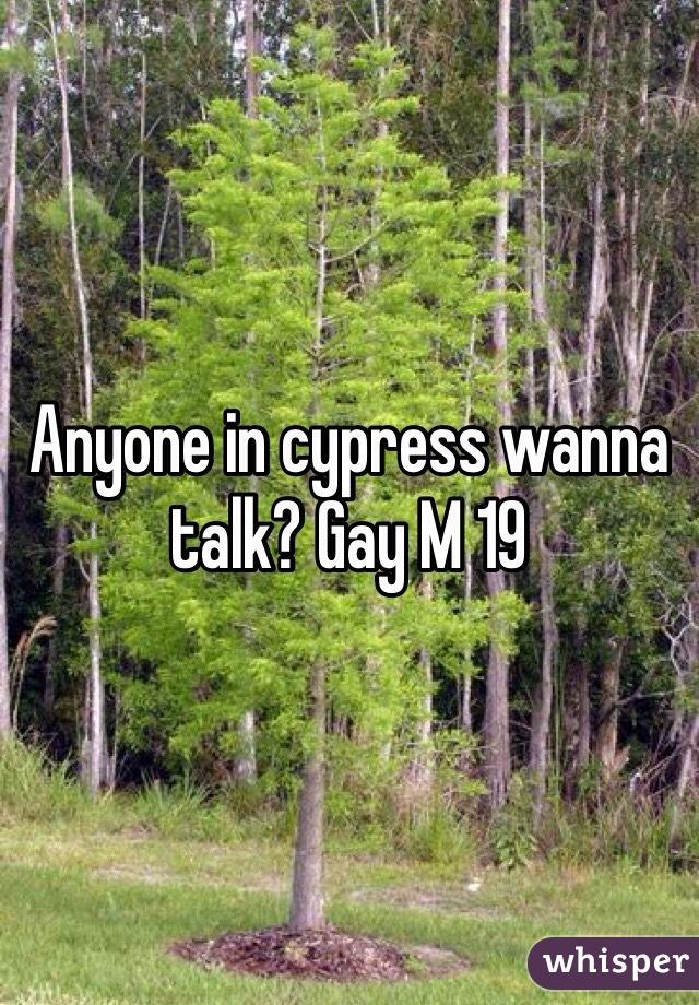 Anyone in cypress wanna talk? Gay M 19