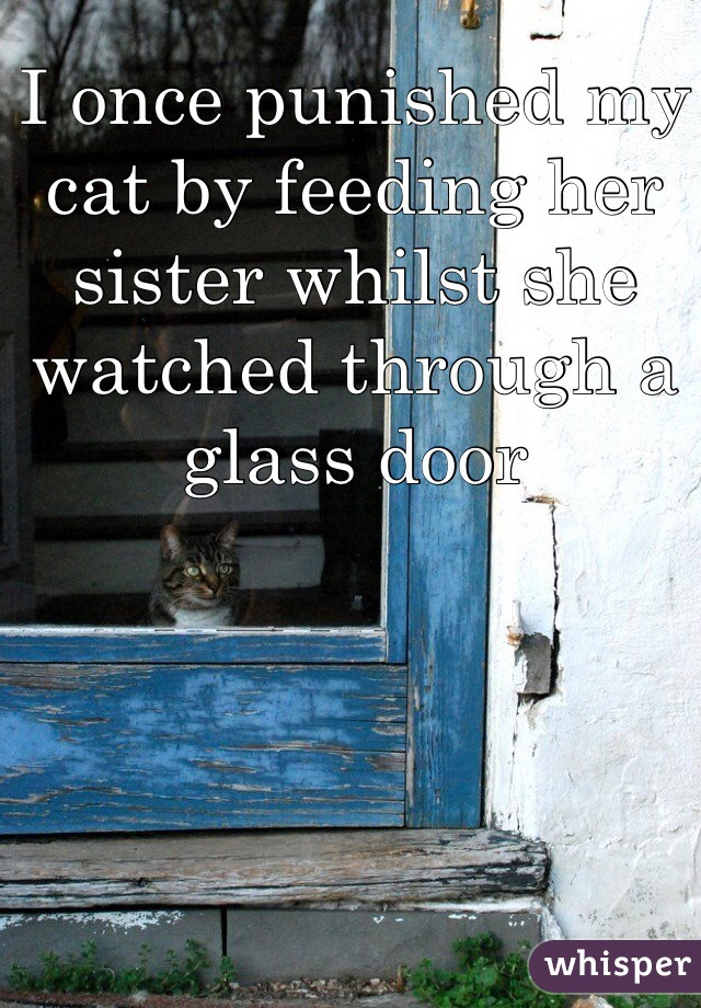 I once punished my cat by feeding her sister whilst she watched through a glass door