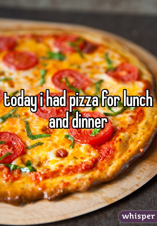 today i had pizza for lunch and dinner